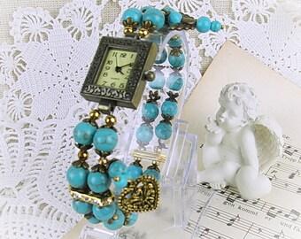 Wrist watch quartz bracelet watch ladies stretch turquoise Beads Turquoise crystal rondelles, Heart