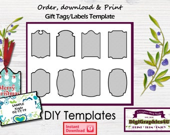 Gift Tags 2 x 3 inch Labels or Tags DIY Printable Template -  Instant Download
