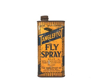 Antique Tanglefoot Fly Spray Can 1930s Tanglefoot Advertising Can Orange Tanglefoot Fly Spray Can Grand Rapids Michigan