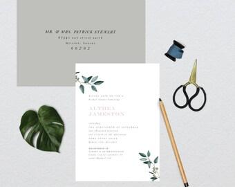 Modern Minimalist Botanical Bridal Shower Invitation // 5x7 DIY PRINTABLE Invitation // Bridal Shower, Invitation, Shower the Bride