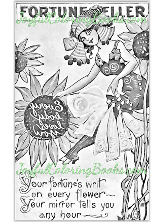4 Halloween Fortune Teller Grayscale Coloring Printable Posters Vintage (Set 6)