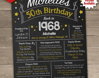 50th Birthday Poster, 50th Birthday Chalkboard, 1968 Birthday Poster, 1968 Birthday Facts, Back in 1968, 50th Birthday Gift