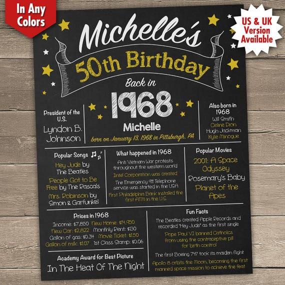 50th Birthday Poster 50th Birthday Chalkboard 1968 Birthday