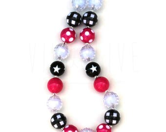 Girl's Chunky Bubblegum Necklace - Hot Pink Black White - Kids Chunky Jewelry - Chunky Necklace for Girls - Buffalo Plaid - Polka Dot Party