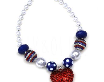Girl's Chunky Bubblegum Necklace - Independence Day - 4th of July Necklace - Fourth of July - Patriots Day - 4th of July Outfit - USA Made