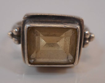 Vintage Sterling Silver Citrine square Cut Ring Size 8