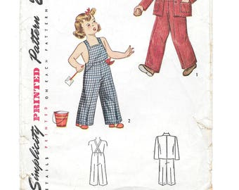 1940s Child's OVERALLS ~ JACKET ~ CAP  Vintage Sewing Pattern ~ Toddler Boy or Girl Size 2 ~ Simplicity 2043 ~ Pants w/ Pockets ~ Beanie Cap