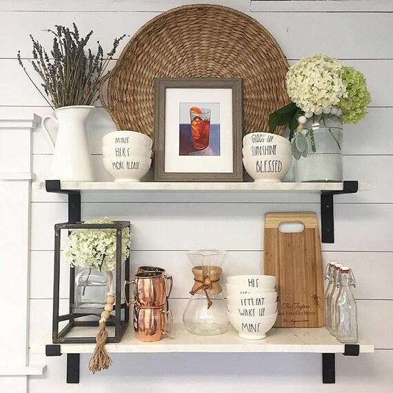 Open Kitchen Shelves With Brackets: Black Steel Shelf Bracket Modern Kitchen Open Shelving Iron