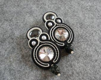 Soutache Earrings Black Skull