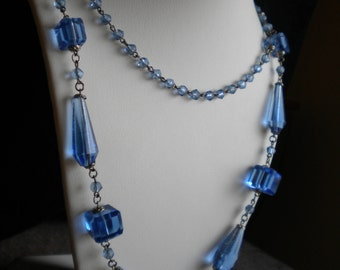 Vintage Art Deco 30s-40s Pale Blue Crystal Cut Glass Necklace Flapper Necklace Opera Length FREE Shipping