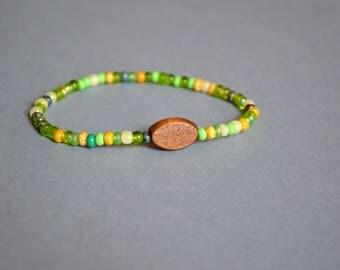 Beaded Stretch Bracelet, Friendship Bracelet, Green Bracelet, Colorful Beaded Bracelet, Gift Under 10 Dollar, Boho Bracelet, Yoga Bracelet.