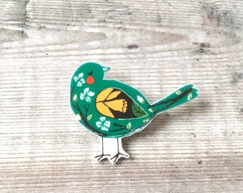 Bird brooch - Bird pin - Bird badge - Green bird - Bird lover - Bird gift - Gift for her - Bird jewellery - Mother's Day - Pretty brooch