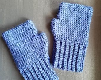 Gloves - Blue - Fingerless Gloves - Crochet
