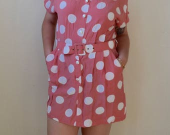 Very 60s diner pink with white polka dot mini dress with pockets and belt- S/M