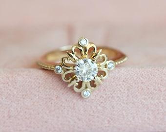 Vintage Moissanite Ring, Gold Engagement Ring, Art Deco Engagement, Diamond Moissanite Ring, Classic Engagement Ring