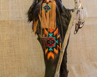 """Craft statuette Amerindian style """"freedom"""""""