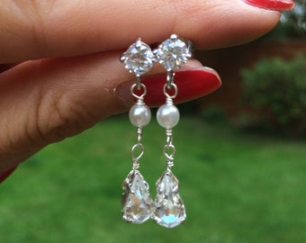 CZ diamond and pearl wedding earring, Sterling Silver CZ stud and pearl drop earrings, vintage Art Deco wedding jewelry bridal jewellery