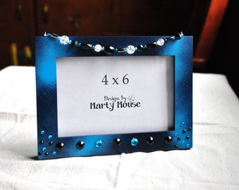 Goth Picture frame/4x6 Picture frame/Picture frame/Blue Picture frame/Blue 4x6 Frame/Emo Frame/Fairy frame/Mystical Frame/ Black Frame