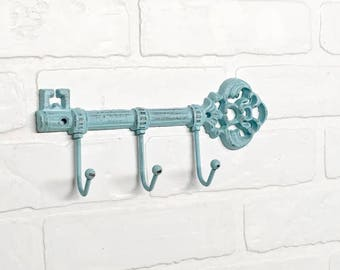 Key Hook/Keys Holder/Blue Wall Decor/Leash Hook/ Steampunk/Entryway/Skeleton Key/Shabby Chic/The Shabby Store/Beach House