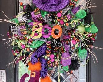 Wicked Witch Halloween Wreath, Halloween Wreath, Deco Mesh Wreath, Halloween Decoration, Fall Wreath, Pre-Order