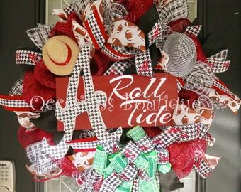Alabama Football Wreath, Alabama Decoration, Alabama Door Hanger, Roll Tide, Fall Wreath, Deco Mesh Wreath, Made to Order