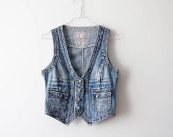 Vintage Medium Denim Vest Jeans Vest Button Up Vest Light Blue Vest Denim Jeans Denim Waistcoat Blue Denim Vest Size Medium Waistcoa