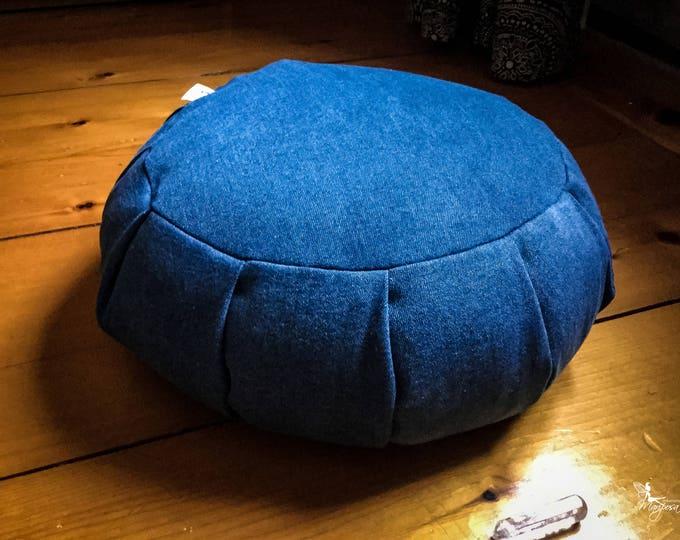 Meditation cushion traditional zafu blue jeans denim Organic buckwheat hulls by Creations Mariposa Zen