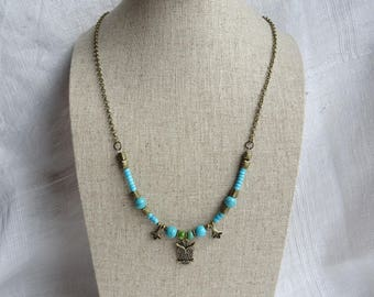 Brass Necklace with Turquoise Beads, Brass Beads and Brass Owl Charm