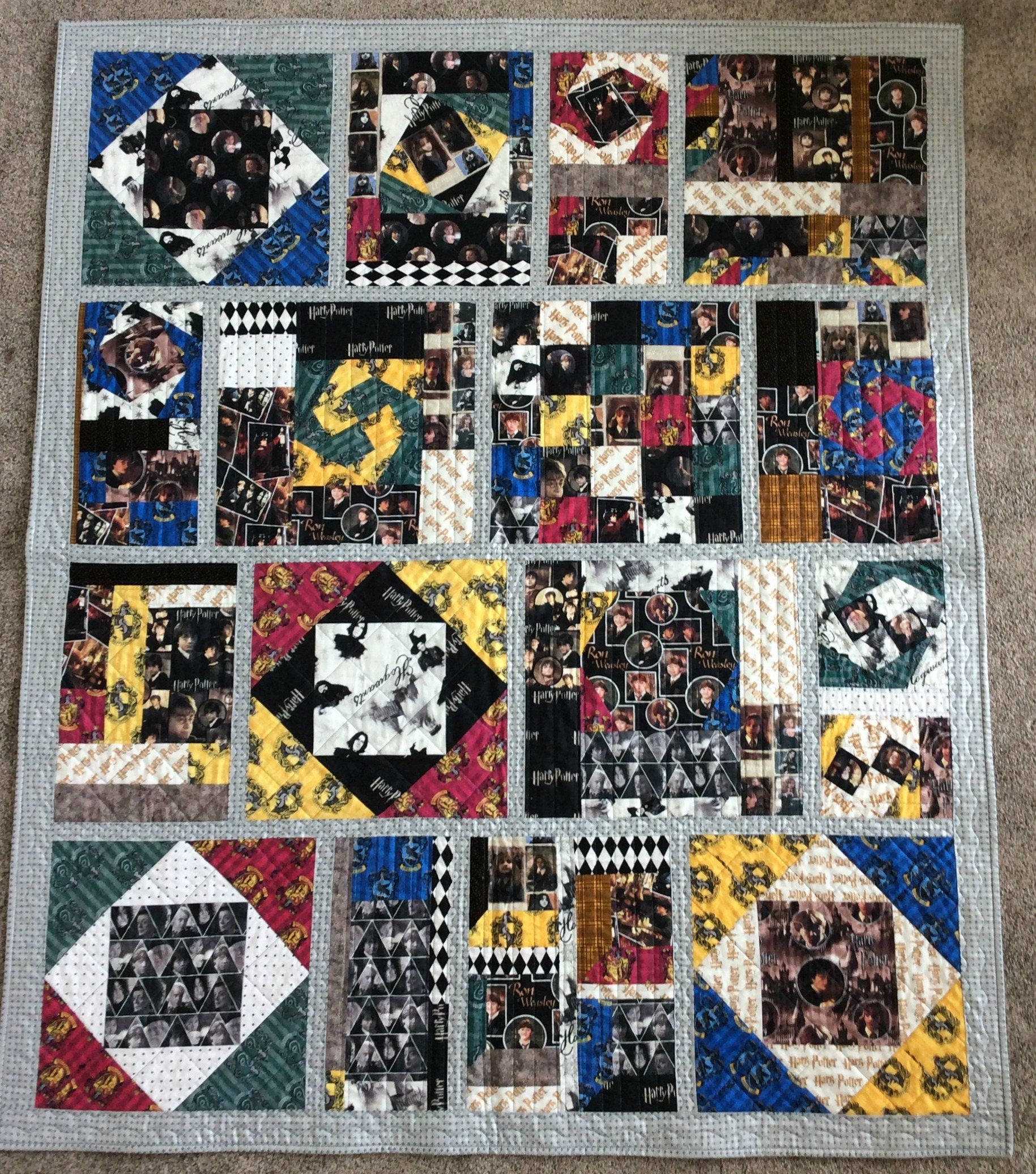 Harry Potter Quilt Hogwarts Sampler Quilt Fun Teen Bedding