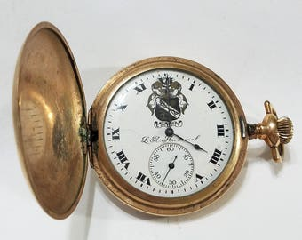 Antique, Elgin, L.R. Hummel, Painted Dial, Pocket Watch, Movement, Case, Philadelphia, Steampunk, Jewelry, Beading, Supplies, Supply
