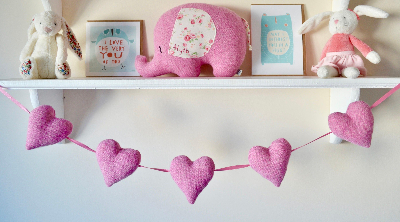 Heart bunting, Harris Tweed heart garland, heart garland, nursery ...