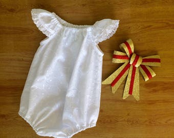 Baby girls snowflake play suit , baby romper, broderie anglaise white pretty, christmas, christening, baptism outfit . Handmade baby girl.