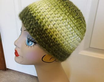 Green Hat, Crochet Acrylic Hat, Ladies Hat, Ski Outdoor Activities Cap, Soft Hat, See Matching Scarf TOO, Kiwi, Avocado, Olive Greens