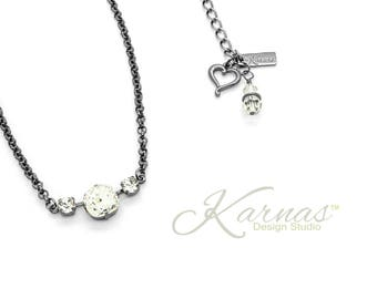 CRYSTAL CLEAR 12mm/6mm Crystal Cushion Cut Necklace Swarovski Elements *Pick Your Finish *Karnas Design Studio *Free Shipping*