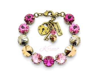 MOSAIC PINK 12mm Charm Bracelet Made With Swarovski Crystal *Choose Finish & Size *Karnas Design Studio™ *Free Shipping*