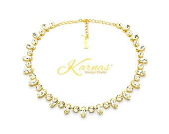 GOLDEN DIVA Mixed Size Necklace Made With Swarovski Crystal *Yellow Gold Finish *Karnas Design Studio™ *Free Shipping