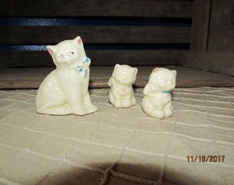 Vintage Miniature Pottery Kittens Kitty Cats Trio Mother & Babies