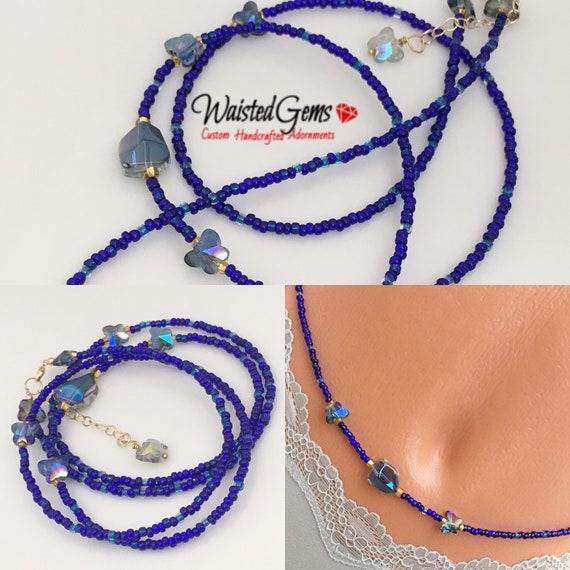 Blue Butterfly Waist Bead, Waistbeads, Blue Waist Beads,Butterfly, summer jewelry, Gift For Her, Belly Chain, Sale  zmw1701