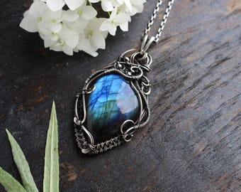 Labradorite pendant Blue pendant Wife gift her wedding gift Silver necklace stone pendant Summer giftWire wrap pendant Wire wrap jewelry