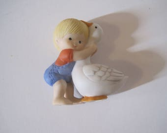 "Enesco Litlle Boy with Goose Figurine, Small, 2.5"" Tall, Boy, Overall, Goose, Summer"