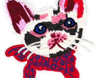 Large & Cute XXL 22cm Chenille Pink White Cat Patch Applique