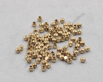 2.5mm 100Pcs Raw Brass Cube Beads , hole size 1mm , GY-X885