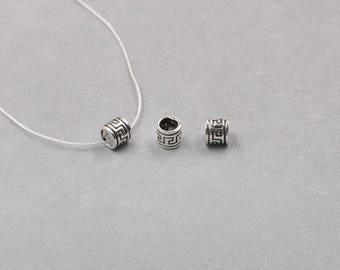 2Pcs, 6mm Sterling Silver Tube Beads -- 925 Silver Antique Tibetan Style Charms Wholesale For Bridesmaid Gift Party YX-Y502