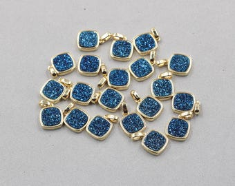 10mm Quartz Druzy Bezel Pendants -- With Electroplated Gold Setting Edge Druzzy Drusy Geode Dainty Charms Supplies Handmade YHA-325