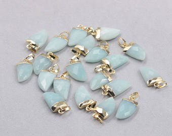 16mm Faceted Amazonite Small Horn Pendants -- With Electroplated Gold Edge Gemstone Charms Wholesale Supplies YHA-328