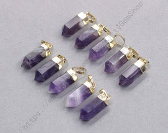 18mm Point Amethyst Pendants -- With Electroplated Gold Edge Gemstone Charms Wholesale Supplies YHA-337