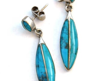 Vintage Sleeping Beauty Turquoise and Silver Dangle Drop Earrings • Stud Earrings