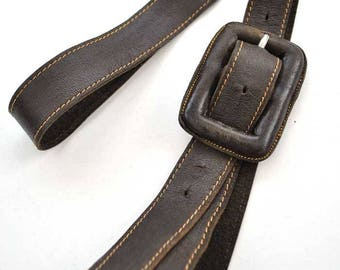 Vintage 30s/40s brown leather belt with covered buckle