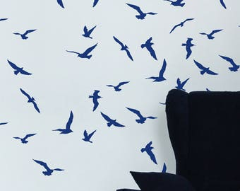 NEW! Storm Birds Wall Stencil, Decorative Scandinavian Wall Stencil for DIY project, Decorative Wallpaper look and easy Home Decor