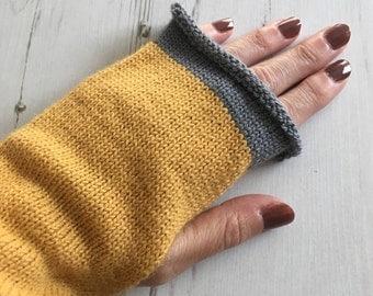 Yellow Fingerless Gloves, Mustard Wrist Warmers, Mustard Gloves, Ochre Fingerless Mitts, Alpaca Gloves, Yellow Mitts, Amber Gloves